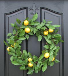 Lemon Wreath Spring Wreath Door Wreaths Lemons by twoinspireyou, $75.00