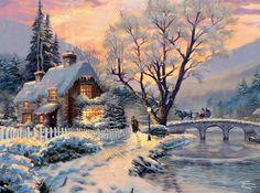 New Thomas Kinkade Puzzles Thomas Kinkade Puzzles, Thomas Kinkade Art, Thomas Kinkade Christmas, Painting Snow, Winter Painting, Beautiful Paintings Of Nature, Kinkade Paintings, Winter Szenen, Art Thomas