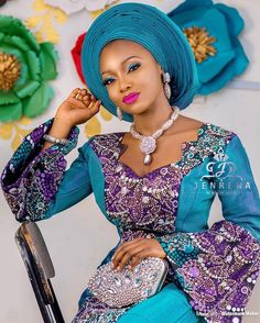 When meets Magical ✨💥💥✨💎 ・・・ Belle Makeup and gele Aso oke Beads… African Dresses For Women, African Attire, African Wear, African Lace, African Fashion Dresses, African Women, Ankara Fashion, Ghanaian Fashion, African Style