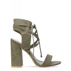 Lacie Khaki Suede Cross Strap Lace Up Heels : Simmi Shoes