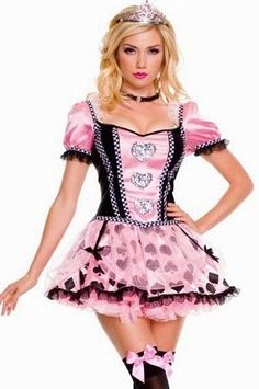 Music Legs Pink Couture Queen Of Heart Costume 70304 Pink/Black Xtra Small