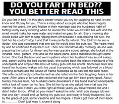 IF YOU FART IN THE BED, YOU BETTER READ THIS! (Priceless)