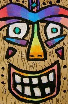 Tiki face....so Cool! Love the vibrant colors!! 3rd Grade Art Lesson, 8th Grade Art, Grade 3, Art Lessons For Kids, Art Lessons Elementary, Beach Themed Art, Classe D'art, Tiki Faces, Art Du Monde