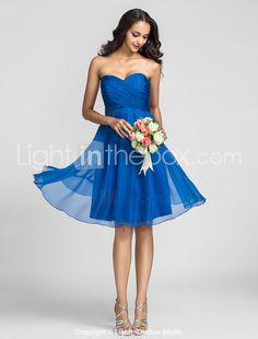 Bridesmaid Dress Knee Length Chiffon A Line Sweetheart Dress (722115) - USD $ 79.99