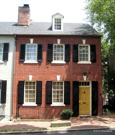 Ideas For Front Door Colors With Red Brick Yellow Black Shutters House Front Door, House, Yellow Doors, House Front, Brick Exterior House, House Exterior, Brick, Yellow Front Doors, Red Brick House