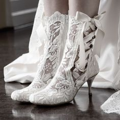 Lotti Elliot White Lace Ankle Vintage Wedding Boot