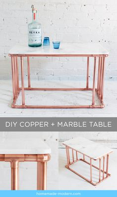 MArbre i coure / Mármol y cobre HomeMade Modern DIY Copper Marble Table… Copper Furniture, Pipe Furniture, Furniture Projects, Modern Furniture, Arranging Furniture, Furniture Design, Furniture Buyers, Furniture Outlet, Furniture Stores