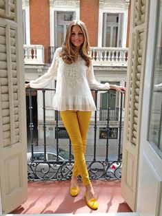 Olivia Palermo in yellow pants & shoes