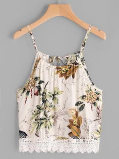 Floral Print Lace Hem Tie Back Cami Top