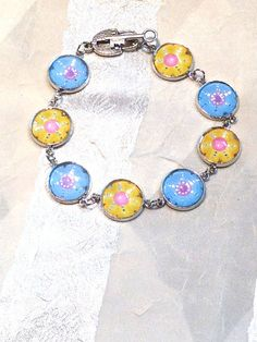 Flower Garden Bracelet in Silver Blue Yellow by NorthCoastCottage