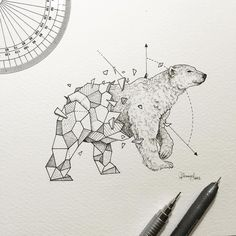 Geometric Beasts | Polar Bear by kerbyrosanes