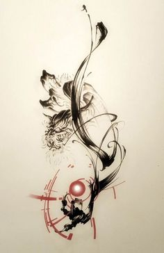 Dragon, sumi, brush, tattoo, brush strokes, tattoo design, タトゥー 刺青 龍 水墨画 tattoo artwork, Japanese style tattoo