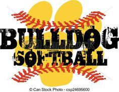 Vector - bulldog softball - stock illustration, royalty free illustrations, stock clip art icon, stock clipart icons, logo, line art, EPS picture, pictures, graphic, graphics, drawing, drawings, vector image, artwork, EPS vector art
