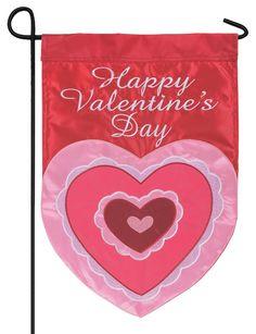 IAmEricas Flags - Happy Valentine's Day Double Applique Garden Flag, $18.00 (http://www.iamericasflags.com/happy-valentines-day-double-applique-garden-flag/)