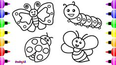 Insect Coloring Pages For Kids Drawing And Book With Colored Marker