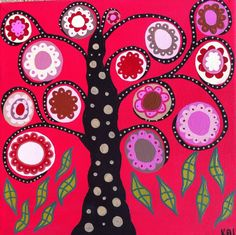 Kerri Ambrosino Art NEEDLEPOINT Mexican Folk Art  Tree of Life Pink and Red Flowers on Etsy, $22.99