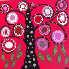 Kerri Ambrosino Art NEEDLEPOINT Mexican Folk Art  Tree of Life Pink and Red Flowers on Etsy, $22.99
