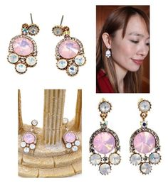 """Lovely pink crystal golden rim earrings"" by oceanfashion on Polyvore"