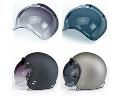 Bubble Shields by Biltwell - $19.99-$24.99. Straight out of the 60's and 70's, these shields have traveled through time to hit our shelves. Doesn't matter if you're on a chopper, cafe bike, cruiser, sport bike or just out for a night on the town, nothing says style and class like a Biltwell bubble shield. With the adjustable, sliding snaps, these bubble shields will fit most brands of open face 3/4 helmets, including Biltwell novelty and Hustler DOT helmets, Bell and Fulmer.