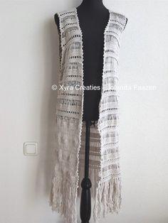 PATR1075 - Lang gilet / vest zonder mouwen - Boho / Ibiza style
