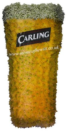 Carling Pint Glass - Bespoke Funeral Flowers and Tribute Art by Monica F Hewitt Florist Sheffield