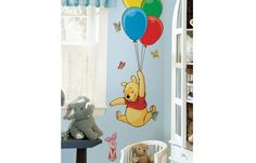 Disney Winnie The Pooh and Piglet Giant Wall Sticker. This adorable set of Pooh and Piglet wall stickers is the perfect addition to any nursery or child's bedroom. Pooh soars high into the sky with a set of colourful balloons, complete with cute Piglet! Winnie The Pooh Nursery, Disney Nursery, Disney Winnie The Pooh, Baby Disney, Disney Playroom, Disney Disney, Stickers Winnie, Deco Stickers, Wall Stickers