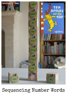 "Learn how to sequence numerals and number names with ""Ten Apples Up On Top"" by Dr Seuss. An easy DIY activity to set up. Your child will be able to check their work too. Suitable for preschoolers and young children."