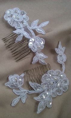 2 Beaded White Lace Hair Comb Bridal Fascinator by Allofyou, $22.00