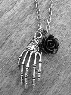 Silver Skeleton Hand & Black Rose Necklace by Ink & Roses 13