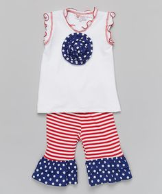 Look what I found on #zulily! White Rosette Tank & Red Stripe Pants - Toddler & Girls #zulilyfinds New today 4/28 http://www.zulily.com/invite/ireeves394