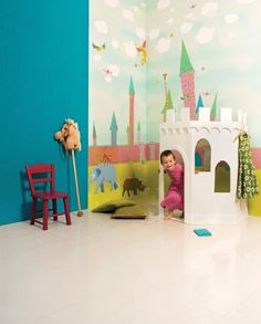 Castle wallpaper from Khroma Designer Wallpaper, Wallpaper S, Cole And Son, Designers Guild, Bratislava, Playroom, Dinosaur Stuffed Animal, Castle, Kids Rugs