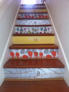 Wallpapered stair risers