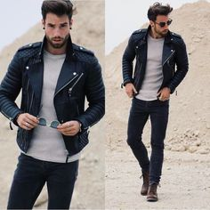 Details about Men's Genuine Lambskin Quilted Leather Motorcycle Jacket Slim fit Biker Jacket – Leather Style Look Fashion, Autumn Fashion, Fashion Outfits, Fashion Men, Fashion Black, Fashion Ideas, Trendy Mens Fashion, Fashion Guide, Fashion Advice