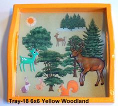 wood tray with a woodland theme sealed in resin. Great for kids! Woodland Theme, Wood Tray, Trays, Handcrafted Jewelry, Magnets, Polymer Clay, Moose Art, Resin, Kids