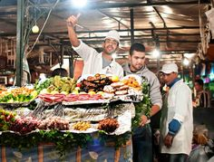 Djemaa El Fna Square, the place to eat for exotic cuisine in Marrakech.