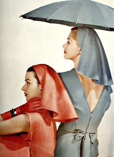 Dorian Leigh (l) and Lisa Fonssagrives, photo by Louise Dahl-Wolfe, Harper's Bazaar, February 1945