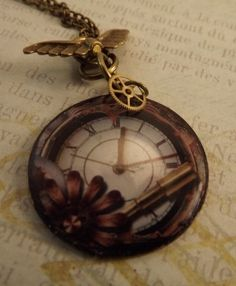 'Handmade Resin Clock Pendant Necklace' is going up for auction at  6pm Tue, Aug 14 with a starting bid of $5.