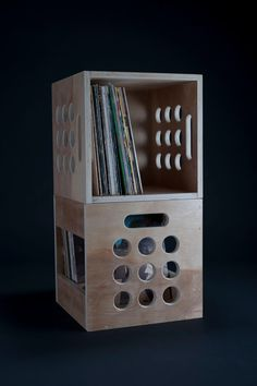 crate perfect for vinyl LP records by AirwoodDesign on Etsy, $69.99