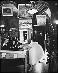 Suzy Parker, Evening Dress by Lanvin-Castillo, Café des Beaux Arts, Paris, August, 1956 Photo Richard Avedon