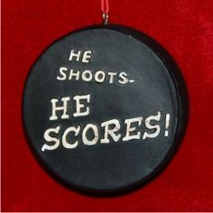 Hockey Puck Personalized Christmas Ornament