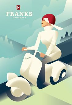 Mads Berg Danish illustrator and poster artist, with a style that is in between art deco and retro futurism. Art Deco Illustration, Vespa Illustration, Creative Illustration, Art Deco Posters, Vintage Travel Posters, Vintage Advertisements, Vintage Ads, Vintage Vespa, Vintage Style
