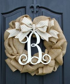 Burlap Wreath - Etsy Wreath - Summer wreaths for door  - Door Wreath - Monogram wreath on Etsy, $85.00 by shane.m.loftin  I love this. I want one for my door. With eggplant purple and silver/gray ribbon or flowers.