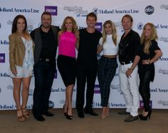 """We are excited to welcome these lovely entertainers to Holland America Line's """"DWTS: At Sea"""" Champions Cruise (January 2014).  Thank you to (l-r) Sharna Burgess, Joey Fatone, Kym Johnson, Tristan MacManus, Emma Slater, Carson Kressley and Sabrina Bryan for being a part of the fun.  Find out more about our """"DWTS: At Sea"""" program at www.hollandamerica.com."""