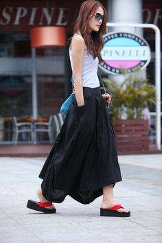 Maxi Skirt Big Pockets Lagenlook Long Skirt in Black Summer Linen Skirt - at sophiaclothing in etsy
