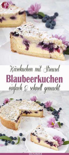 Best cheesecake: Grandma& baked quark cake with blueberries and sprinkles- Bester Käsekuchen : Omas gebackene Quarktorte mit Blaubeeren und Streuseln Quark cake with blueberries and sprinkles, cheesecake with … - Easy Cake Recipes, Cookie Recipes, Dessert Recipes, Healthy Recipes, Best Cheesecake, Cheesecake Recipes, Quark Recipes, Pie Recipes, Blueberry Cheesecake