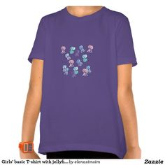 Girls' basic T-shirt with jellyfishes