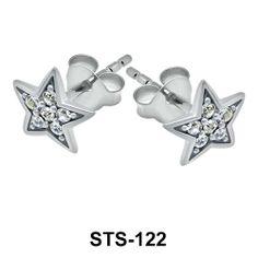 Star Design Silver Stud Earrings. #earpiercing #jewelrypiercing #bodypiercing #piercing