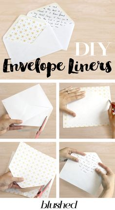 DIY Envelope Liners, Make your own personalized envelope liners. Hand lettered envelope liners, patterned liners