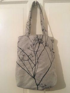 Beautiful Monochrome Lined Linen/Cotton Blend Tote Bag