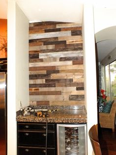 Love the Wood backdrop and metallic paint Wood Backdrop, Fireplace Remodel, Pallet Wall, Wine Bar, Remodel, Bar Nook, Flooring Projects, Kitchen Island Design, Wall Bar